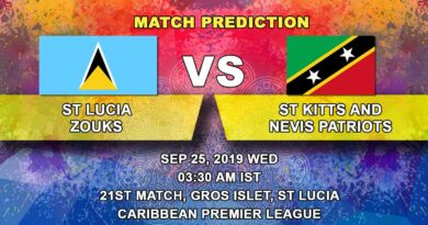 Cricket Prediction Caribbean Premier League – St Lucia Zouks vs St Kitts and Nevis Patriots – Patriots look to seal their playoff spot after a mini hiatus