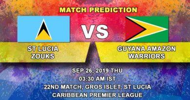 Cricket Prediction Caribbean Premier League – St Lucia Zouks vs Guyana Amazon Warriors – Warriors look to march ahead as Zouks keep their dream alive