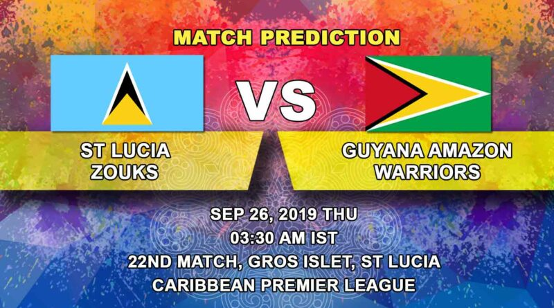 Cricket Prediction Caribbean Premier League – St Lucia Zouks vs Guyana Amazon Warriors – Warriors look to march ahead as Zouks keep their dream alive