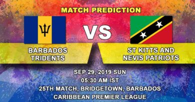 Cricket Prediction Caribbean Premier League – Barbados Tridents vs St Kitts and Nevis Patriots – Tridents take on Patriots as race for playoffs gets tight
