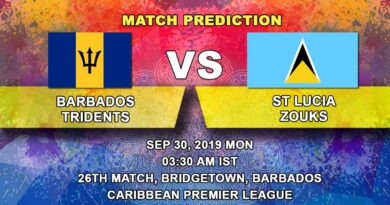 Cricket Prediction Caribbean Premier League – Barbados Tridents vs St Lucia Zouks – Tridents and Zouks clash in a virtual quarter-final
