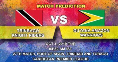 Cricket Prediction Caribbean Premier League – Trinbago Knight Riders vs Guyana Amazon Warriors – Big teams clash in a crucial game for TKR