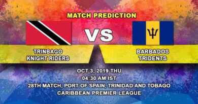 Cricket Prediction Trinbago Knight Riders vs Barbados Tridents Caribbean Premier League 03.10.19