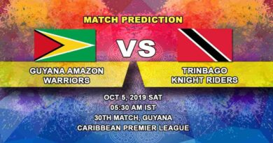 Cricket Prediction Guyana Amazon Warriors vs Trinbago Knight Riders Caribbean Premier League 05.10.19