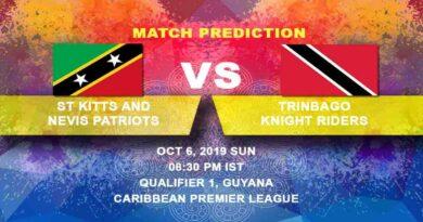 Cricket Prediction St Kitts and Nevis Patriots vs Trinbago Knight Riders Caribbean Premier League 06.10.19