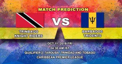 Cricket Prediction Trinbago Knight Riders vs Barbados Tridents Caribbean Premier League 11.10.19