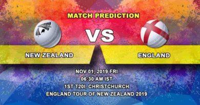 Cricket Prediction New Zealand vs England England tour of New Zealand 2019/20 01.11