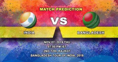 Cricket Prediction India vs Bangladesh Bangladesh tour of India 2019/20 07.11