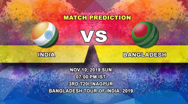 Cricket Prediction India vs Bangladesh Bangladesh tour of India 2019/20 10.11