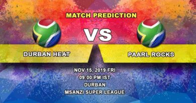 Cricket Prediction Durban Heat vs Paarl Rocks Mzansi Super League 15.11