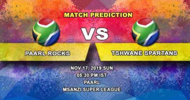 Cricket Prediction Paarl Rocks vs Tshwane Spartans Mzansi Super League 17.11