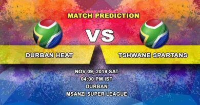 Cricket Prediction Durban Heat vs Tshwane Spartans Mzansi Super Leaague 09.11