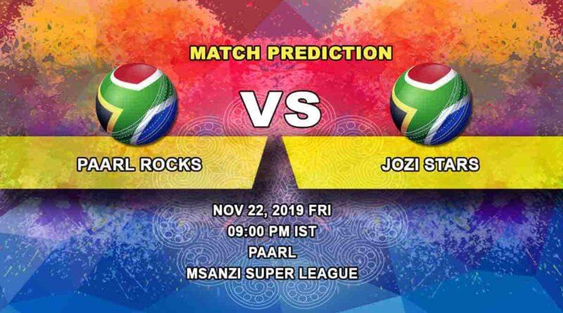 Cricket PredictionPaarl Rocks vs Jozi Stars Mzansi Super League 22.11