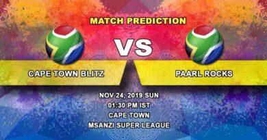 Cricket Prediction Cape Town Blitz vs Paarl Rocks Mzansi Super League 24.11