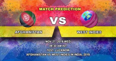 Cricket Prediction Afghanistan vs West Indies West Indies tour of India 2019/20 27.11