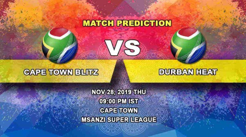 Cricket Prediction Cape Town Blitz vs Durban Heat Mzansi Super League 28.11