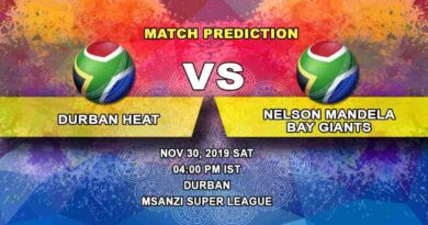 Cricket Prediction Durban Heat vs Nelson Mandela Bay Giants Mzansi Super League 30.11