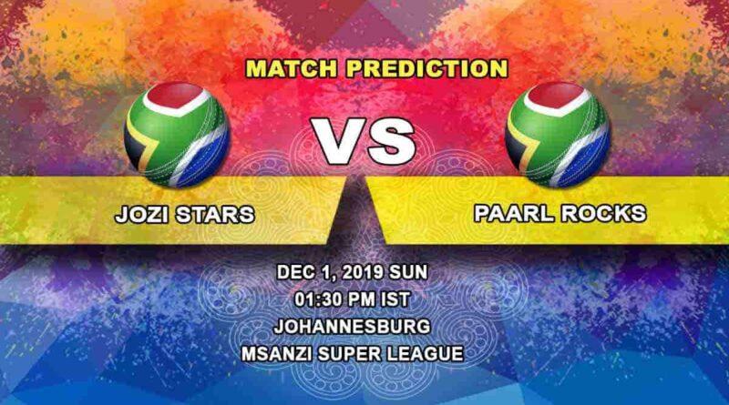 Cricket Prediction Jozi Stars vs Paarl Rocks Mzansi Super League 01.12