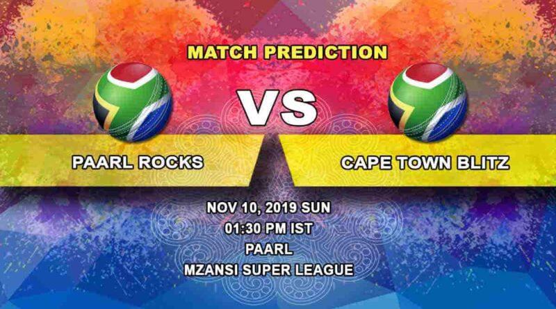 Cricket Prediction Paarl Rocks vs Cape Town Blitz Mzansi Super League 10.11
