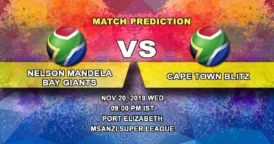 Cricket Prediction Nelson Mandela Bay Giants vs Cape Town Blitz Mzansi Super League 20.11