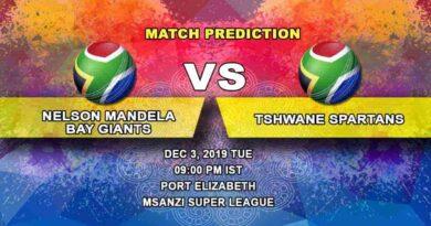 Cricket Prediction Nelson Mandela Bay Giants vs Tshwane Spartans Mzansi Super League 03.12