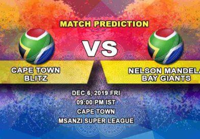 Cricket Prediction Cape Town Blitz vs Nelson Mandela Bay Giants Mzansi Super League 06.12