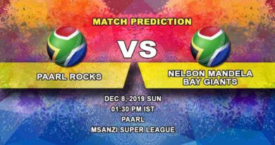 Cricket Prediction Paarl Rocks vs Nelson Mandela Bay Giants Mzansi Super League 08.12