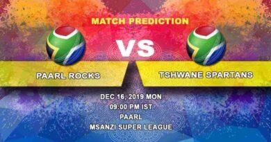 Cricket Prediction Paarl Rocks vs Tshwane Spartans Mzansi Super League 16.12