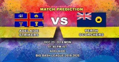 Cricket Prediction Adelaide Strikers vs Perth Scorchers Big Bash League 23.12