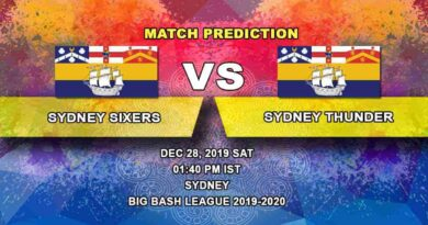 Cricket Prediction Sydney Sixers vs Sydney Thunder Big Bash League 28.12