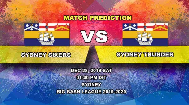 Cricket Prediction Sydney Sixers vs Sydney Thunder Big Bash League 28.12