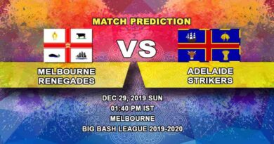 Cricket Prediction Melbourne Renegades vs Adelaide Strikers Big Bash League 29.12