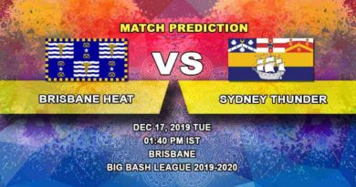 Cricket Prediction Brisbane Heat vs Sydney Thunder Big Bash League 17.12