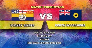 Cricket Prediction Sydney Sixers vs Perth Scorchers Big Bash League 18.12