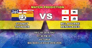 Cricket Prediction Sydney Thunder vs Melbourne Renegades Big Bash League 19.12