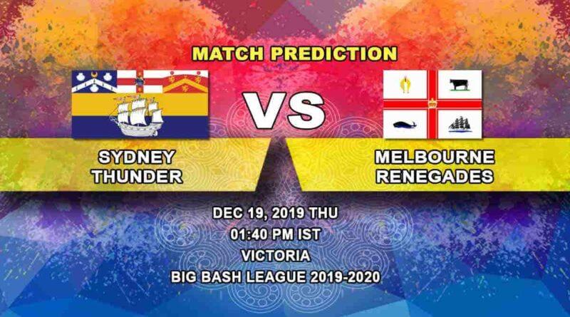 Cricket Prediction Sydney Thunder vs Melbourne Renegades Big Bash League 19.12