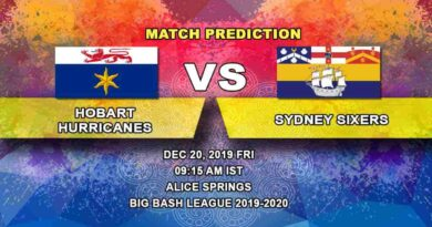 Cricket Prediction Hobart Hurricanes vs Sydney Sixers Big Bash League 20.12