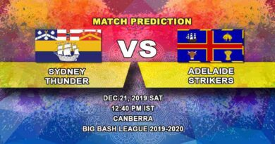 Cricket Prediction Sydney Thunder vs Adelaide Strikers Big Bash League 21.12
