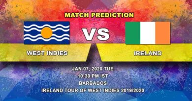 Cricket Prediction West Indies vs Ireland Ireland tour of West Indies 2019/20 07.01
