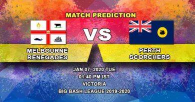 Cricket Prediction Melbourne Renegades vs Perth Scorchers Big Bash League 07.01