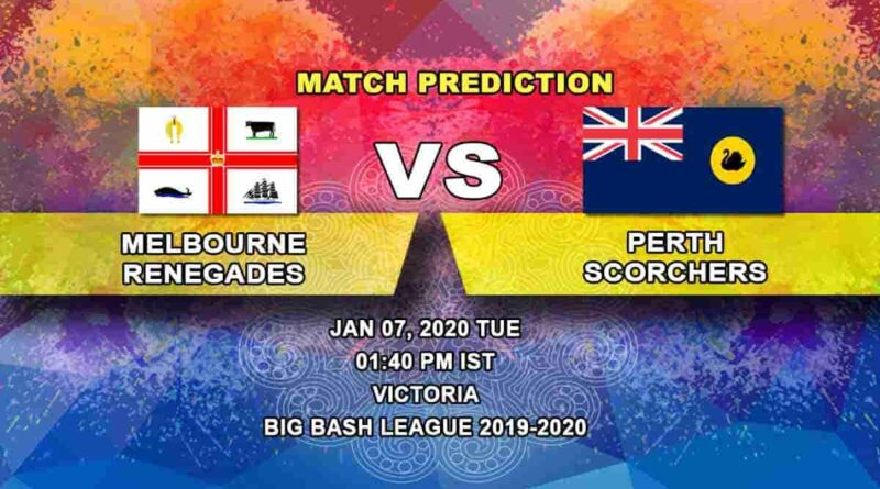 Cricket Prediction Melbourne Renegades vs Perth Scorchers Big Bash League 07.01