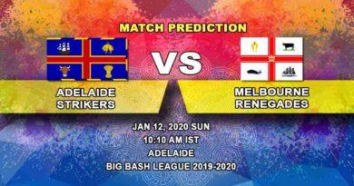 Cricket Prediction Adelaide Strikers vs Melbourne Renegades Big Bash League 12.01