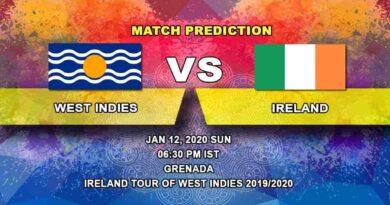 Cricket Prediction West Indies vs IrelandIreland tour of West Indies 2019/20 12.01