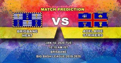 Cricket Prediction - Brisbane Heat vs Adelaide Strikers - Big Bash League 14.01
