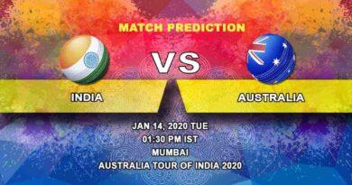 Cricket Prediction - India vs Australia - Australia tour of India 2019/20 14.01