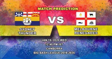 Cricket Prediction - Sydney Thunder vs Melbourne Renegades - Big Bash League 15.01