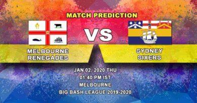 Cricket Prediction Melbourne Renegades vs Sydney Sixers Big Bash League 02.01