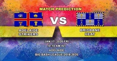 Cricket Prediction - Adelaide Strikers vs Brisbane Heat - Big Bash League 17.01