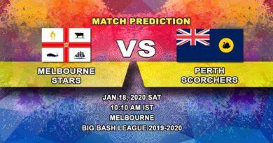 Cricket Prediction - Melbourne Stars vs Perth Scorchers - Big Bash League 18.01