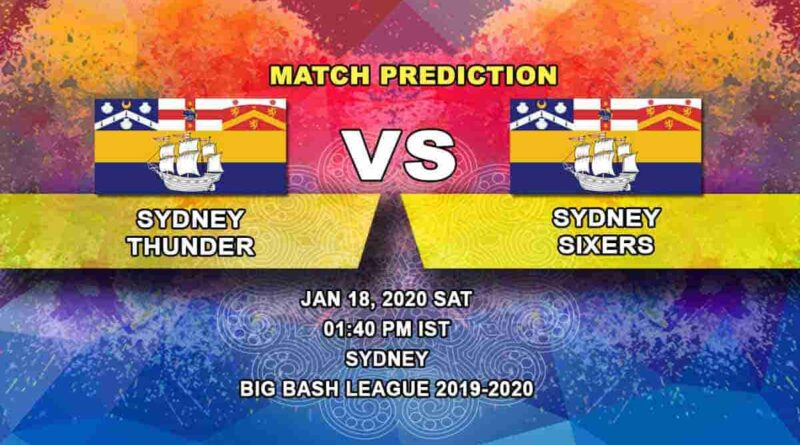 Cricket Prediction -  Sydney Thunder vs Sydney Sixers - Big Bash League 18.01